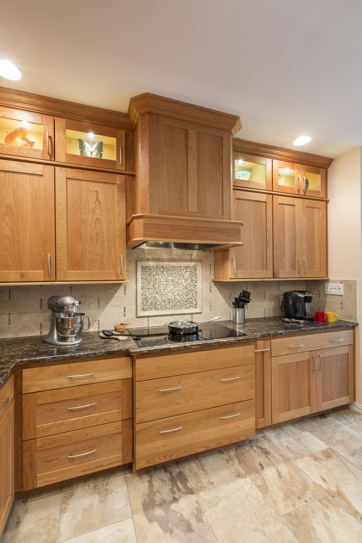 Soaring Cherry Kitchen Dewils Cabinets Orion Leather Granite Counters Camargo And Harvest Melange Tile For The Back Splash Autunno Slate Floor