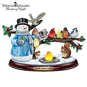 Thomas Kinkade iluminado musical Songbird Muñeco de nieve y Escultura