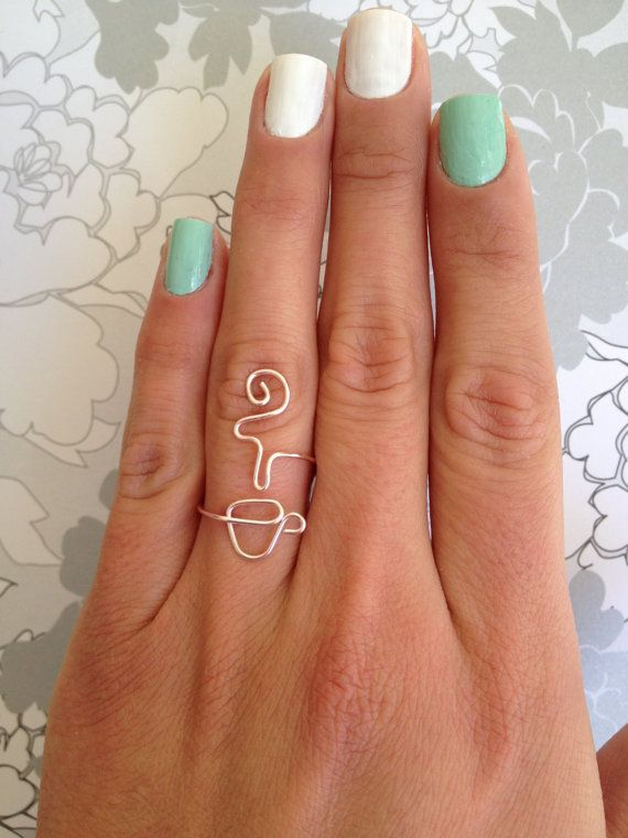 Coffee Addict, or Tea Lover, in Silver or Gold, Mug/Cup with Steam Adjustable Wire Wrap Around Ring -Best Seller-