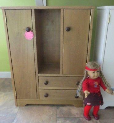 Superieur HUGE Amish Handmade Wood Oak White Doll Armoire Hutch Wardrobe American  Girl 18