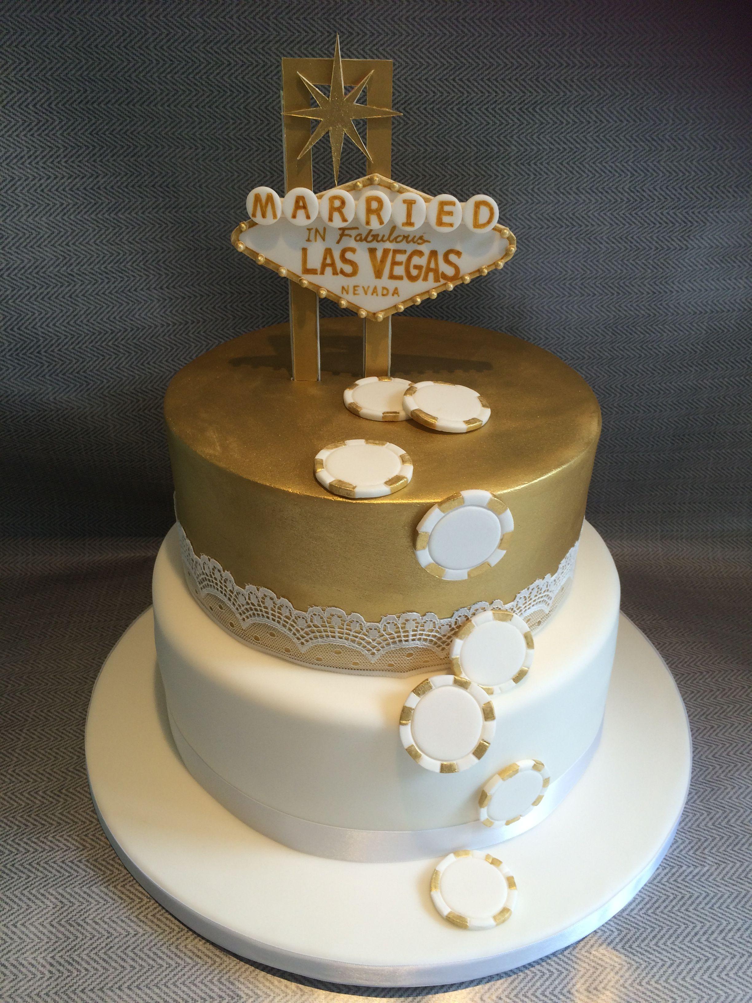 Gold & White Married in Las Vegas Cake Wedding Cake