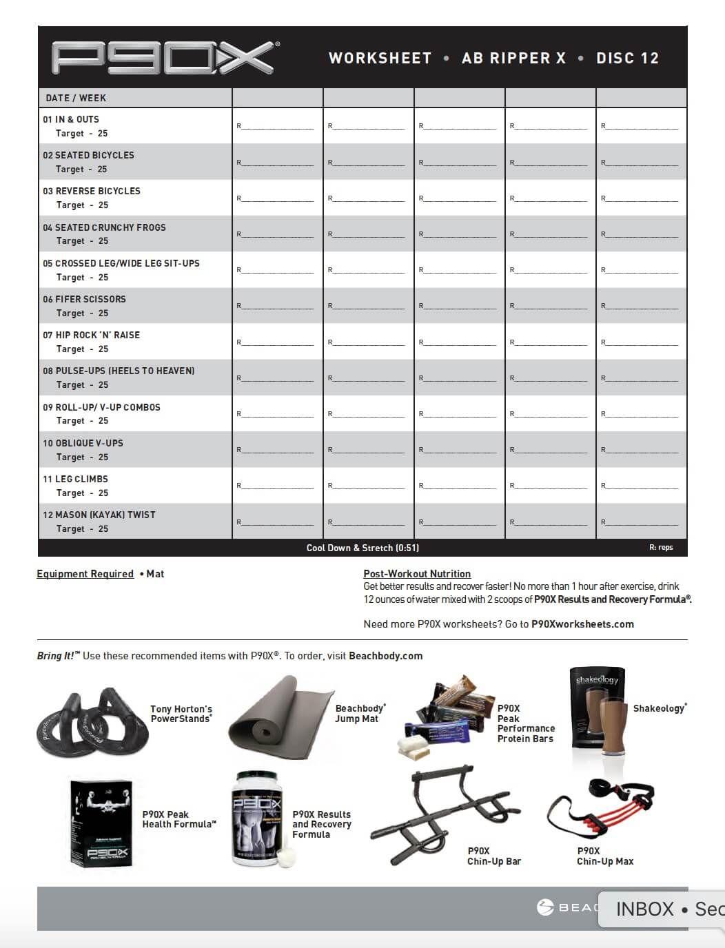 free p90x workout sheets pdf