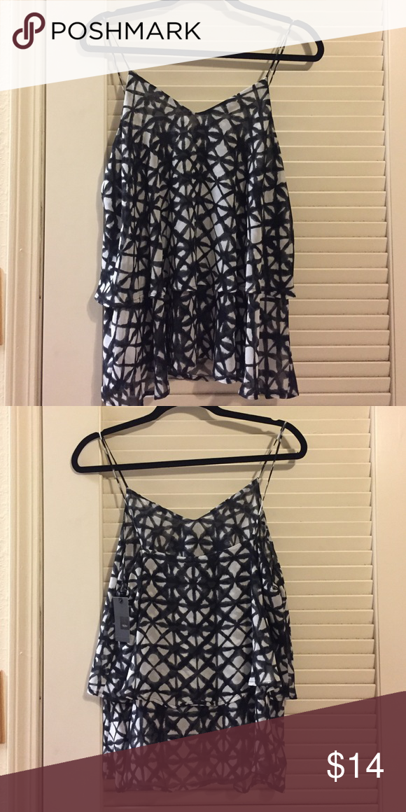 NWT patterned tank This super cute tank top is layered with a black/grey and white pattern Mossimo Supply Co Tops Tank Tops