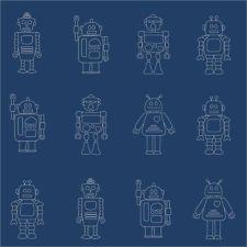Hoopla Robots Silhouette Navy Blue Designer Wallpaper DL30725 Childrens