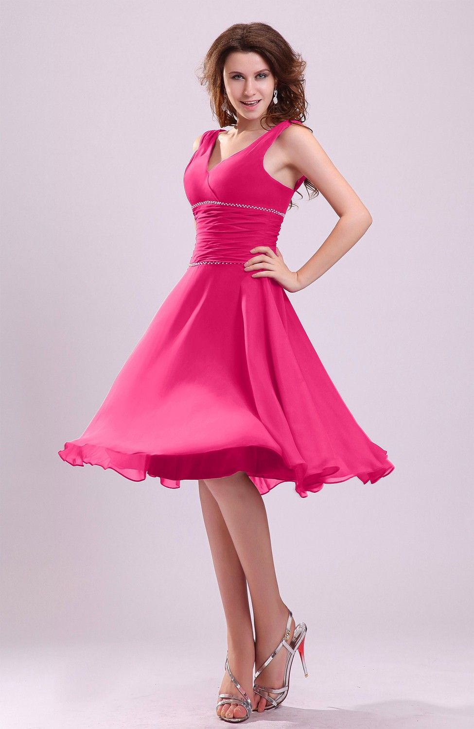 Short purple wedding dresses  Fuschia Bridesmaid Dress  Cute Aline Sleeveless Chiffon Knee