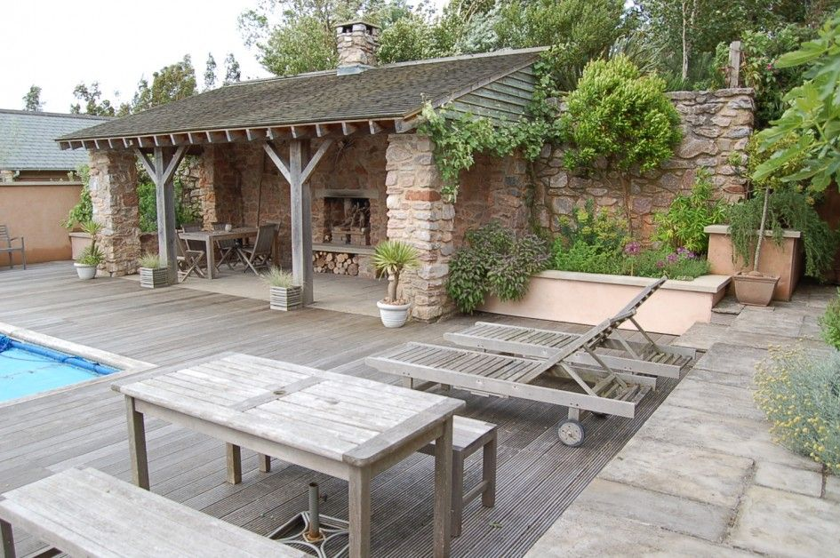 Fantastic Outdoor Kitchen Pool Design Combos With Pool Wood Deck Stain And  Combining Rustic Patio With