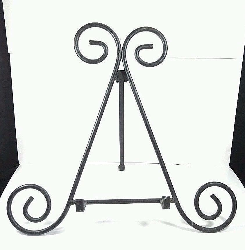 """Wrought Iron 12/"""" Easel Stand Photo Plate Artwork Holder Black"""