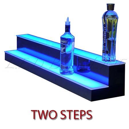Armana Acrylic 28 Inch LED Liquor Shelf Two Tier Lighted Bottle Shelves