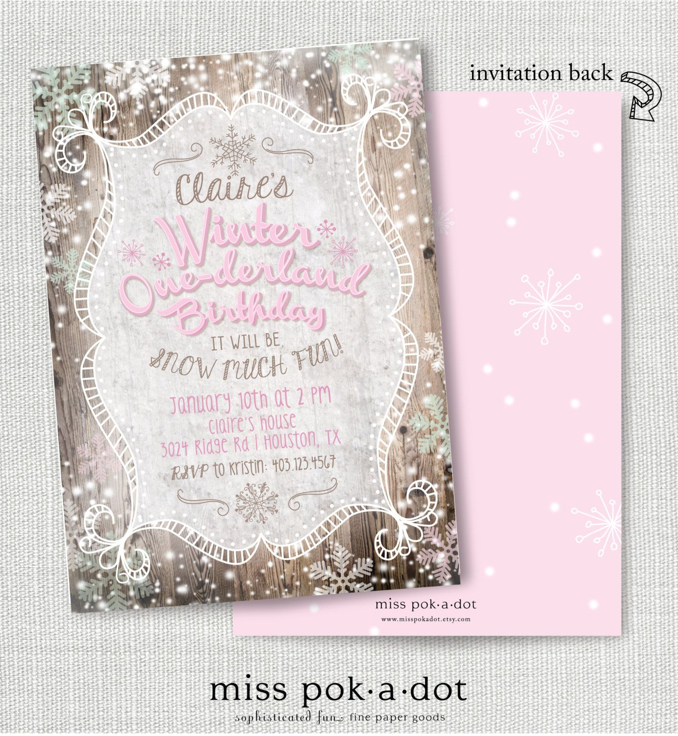 PINK, BLUE or MINT winter onederland first birthday invitation ...
