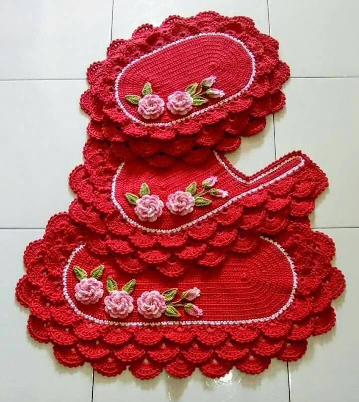 Pin De Sil Sol Crochet Fleitas Em Tapetes 2 Jogos De Croche Jogos De Banheiro Croche Jogo De Cozinha Croche
