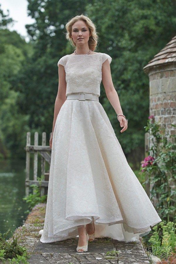 Stephanie Allin Bridal 2016 Amalfi Wedding Dress Capri Shrug High Low Skirt Cap Sleeve Blouse