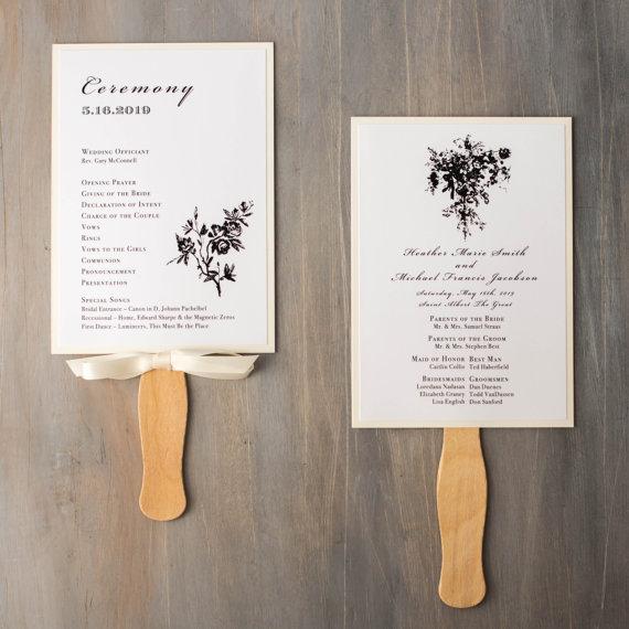 Modern Wedding Ceremony Songs: Ceremony Paddle Fan, Wedding Ceremony Hand Program Fans