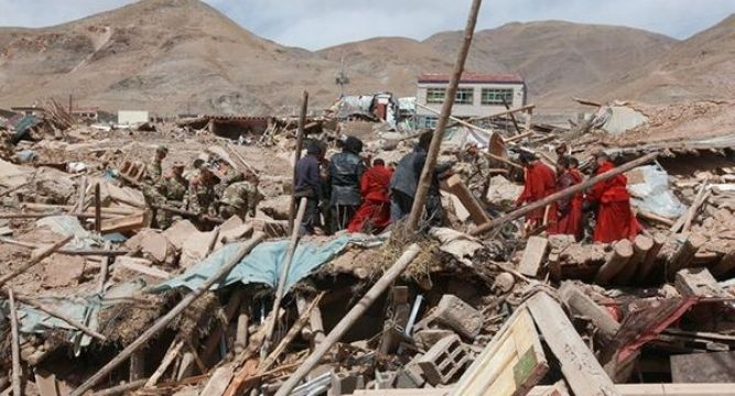 the china earthquake networks center said the earthquake hit at a depth of 18 kilometres in kangding county of ganzi tibetan autonomous prefecture