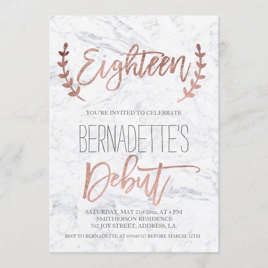 debut marble 18th birthday invitation
