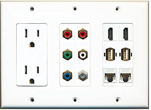 Riteav 5 Rca Component Stereo Cable Tv And 2 Hdmi Usb Ethernet Wall Plate Plates On Wall Power Outlet Usb
