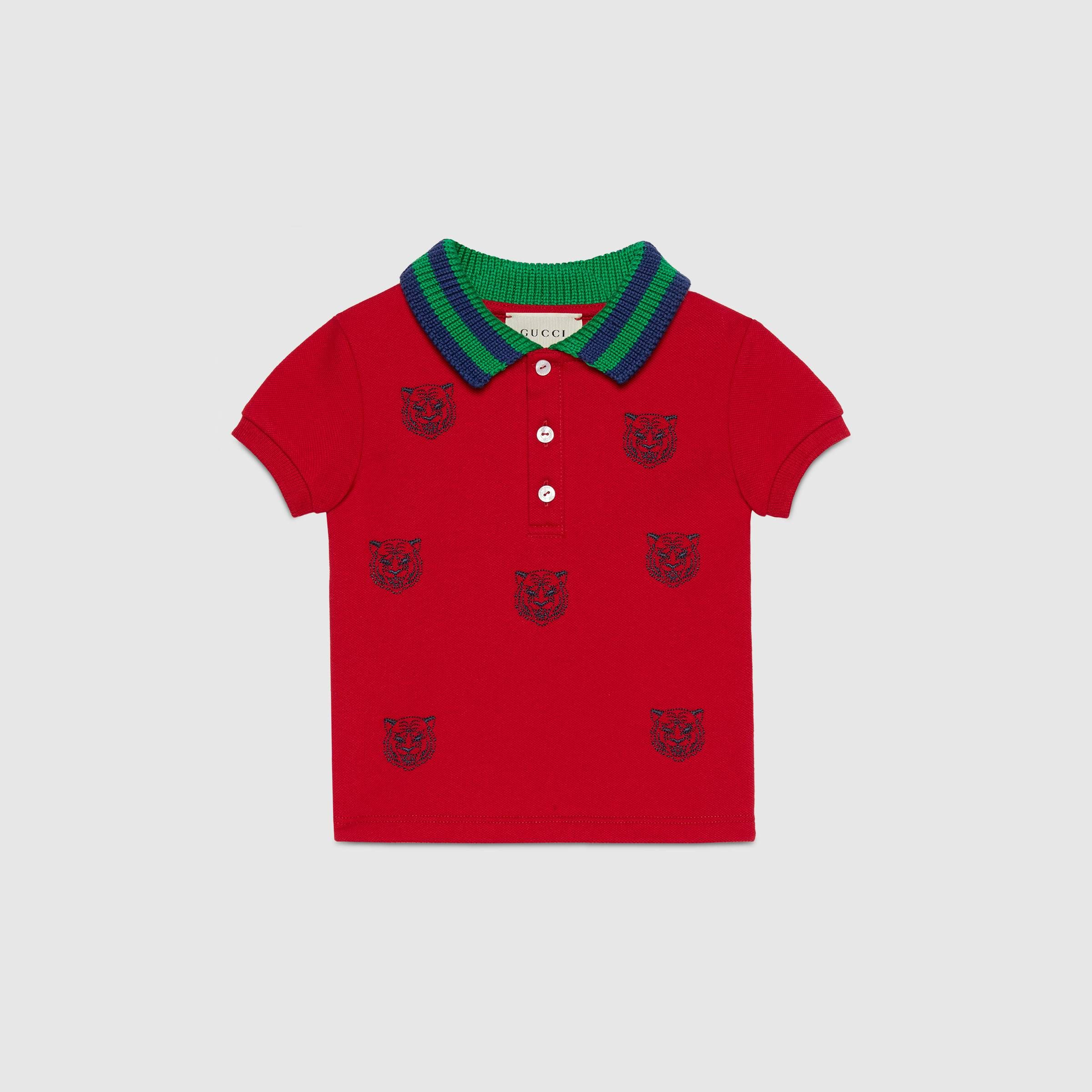 8c8133cb Baby polo with tiger heads embroidery in Red stretch cotton piquet   Gucci  Boys (0-36 m)