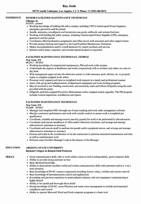 Maintenance Job Description Resume Luxury Facilities Maintenance Technician Resume Samples