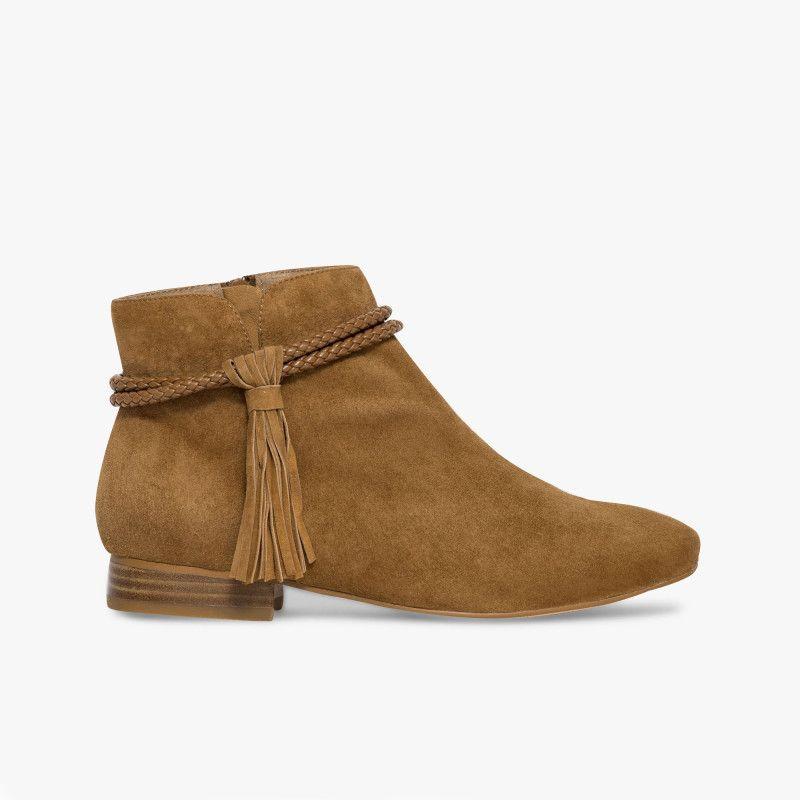 boots en velours boots marron folk Low cuir Un avec esprit nP0wOk