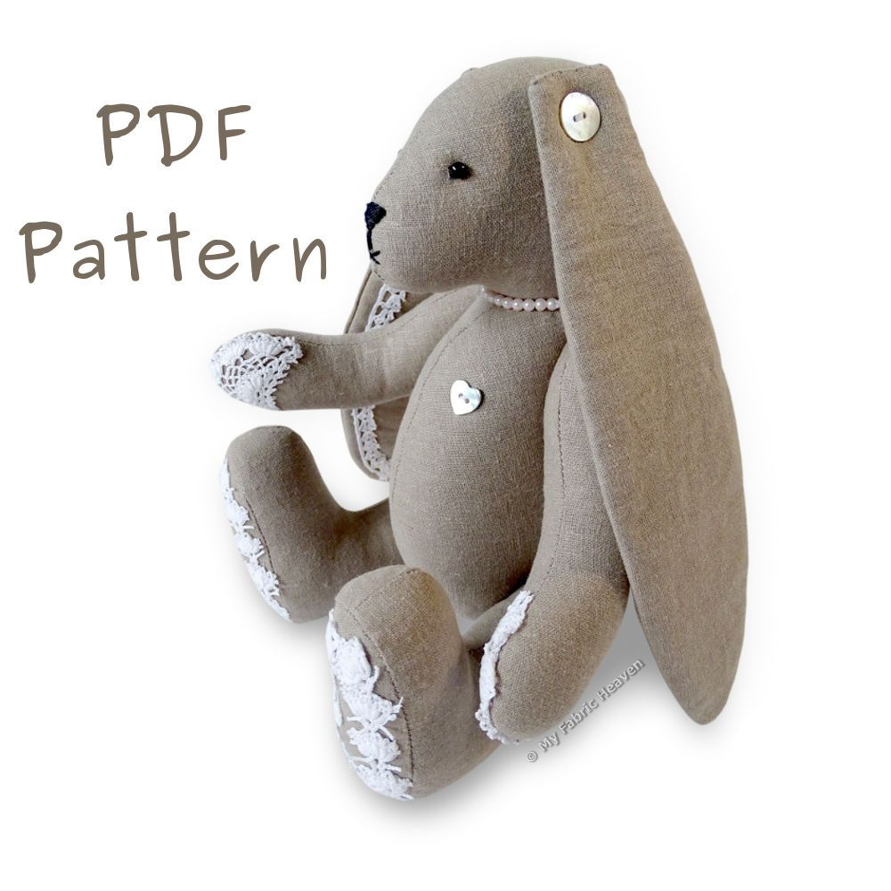PDF Sewing PATTERN Lacy Bunny Floppy Eared Bunny Rabbit & Tutorial ...