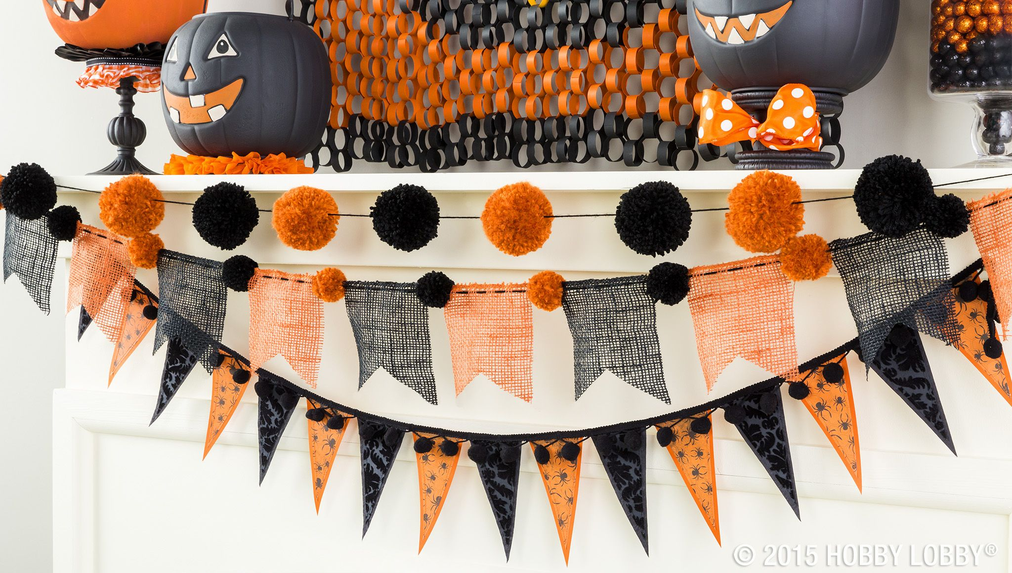 Burlap, scrapbook paper and homemade pom poms make up this marvelous - Hobby Lobby Halloween Decorations
