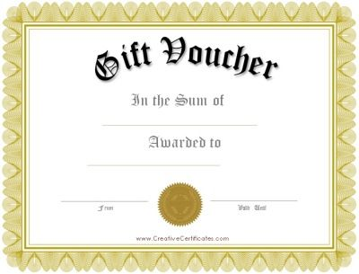 Free printable gift vouchers Instant download No registration - blank gift certificate template word