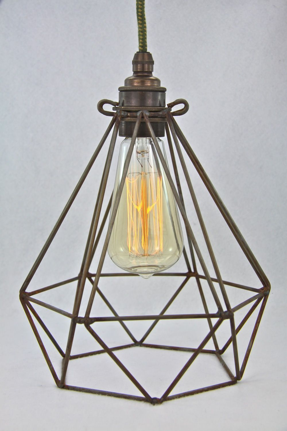 Diamond wire lamp Cage Vintage Industrial pendant cloth cord trouble ...