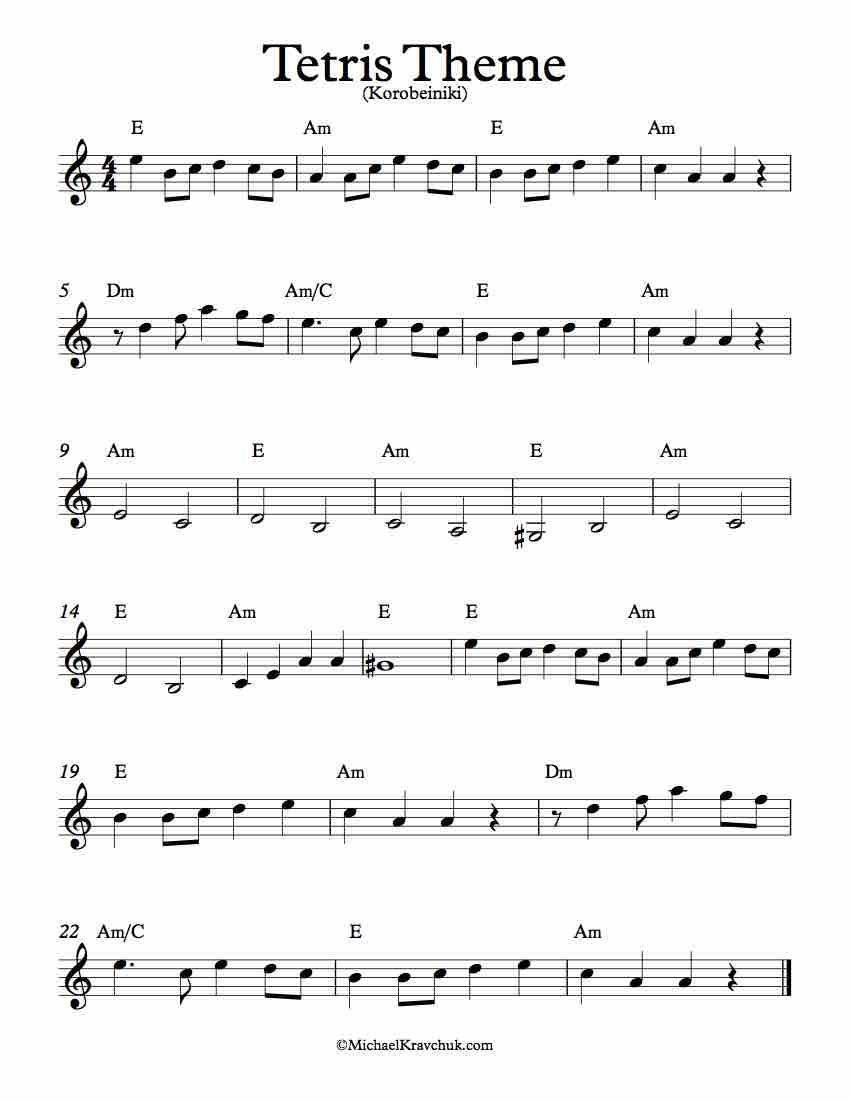 Free Sheet Music For Tetris Theme Korobeiniki Enjoy Piano