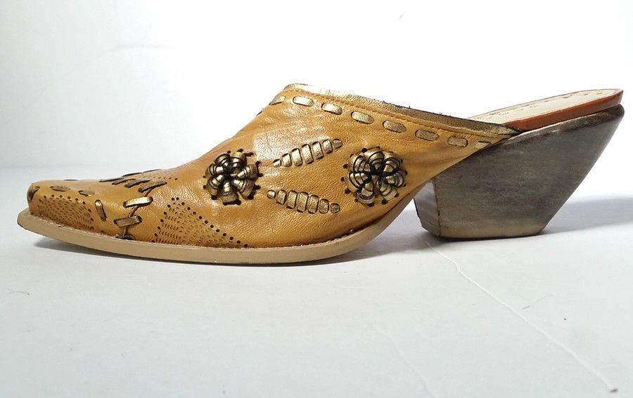 71106140dad37 BCBG WESTERN Womens MULES 8.5 TAN Leather Cowboy Bootie Mules *LOVELY* SZ  8.5 #BCBGirls #Mules
