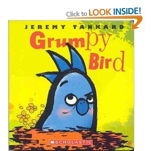 """Grumpy Bird - Jeremy Tankard.  Birdie wakes up grumpy and moody, and yet finds a way to lighten up as his friends gather all around him.  Colorful, funny board book for 2-3 year olds.  """"Boo hoo bird"""" is great too."""