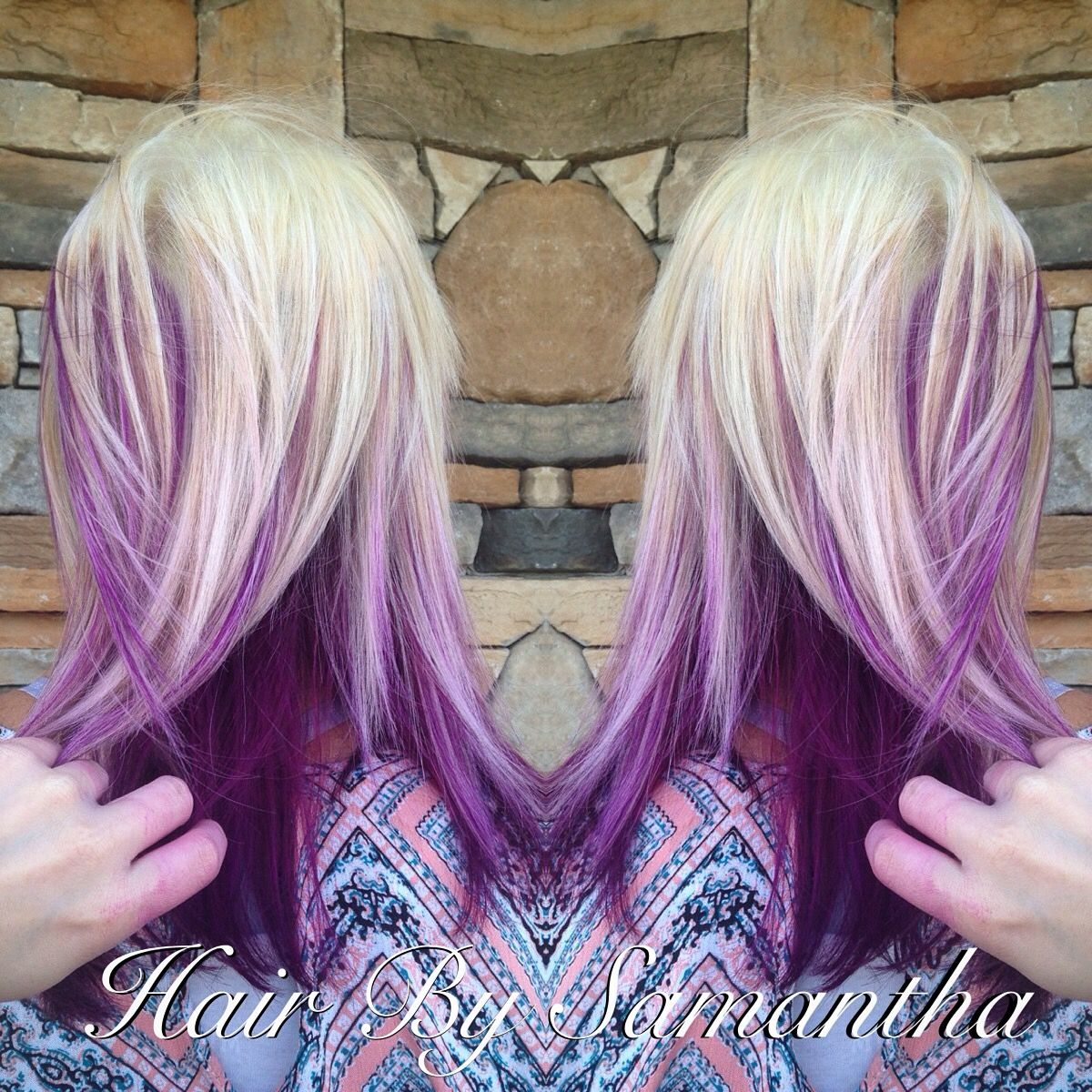 Blonde Hair With Pink Purple Kaboo Highlights