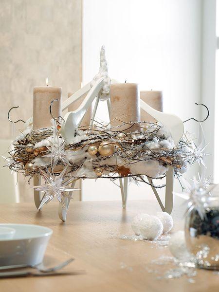 design ideen f r moderne adventskr nze tischkranz auf b gelspitzen weihnachten pinterest. Black Bedroom Furniture Sets. Home Design Ideas