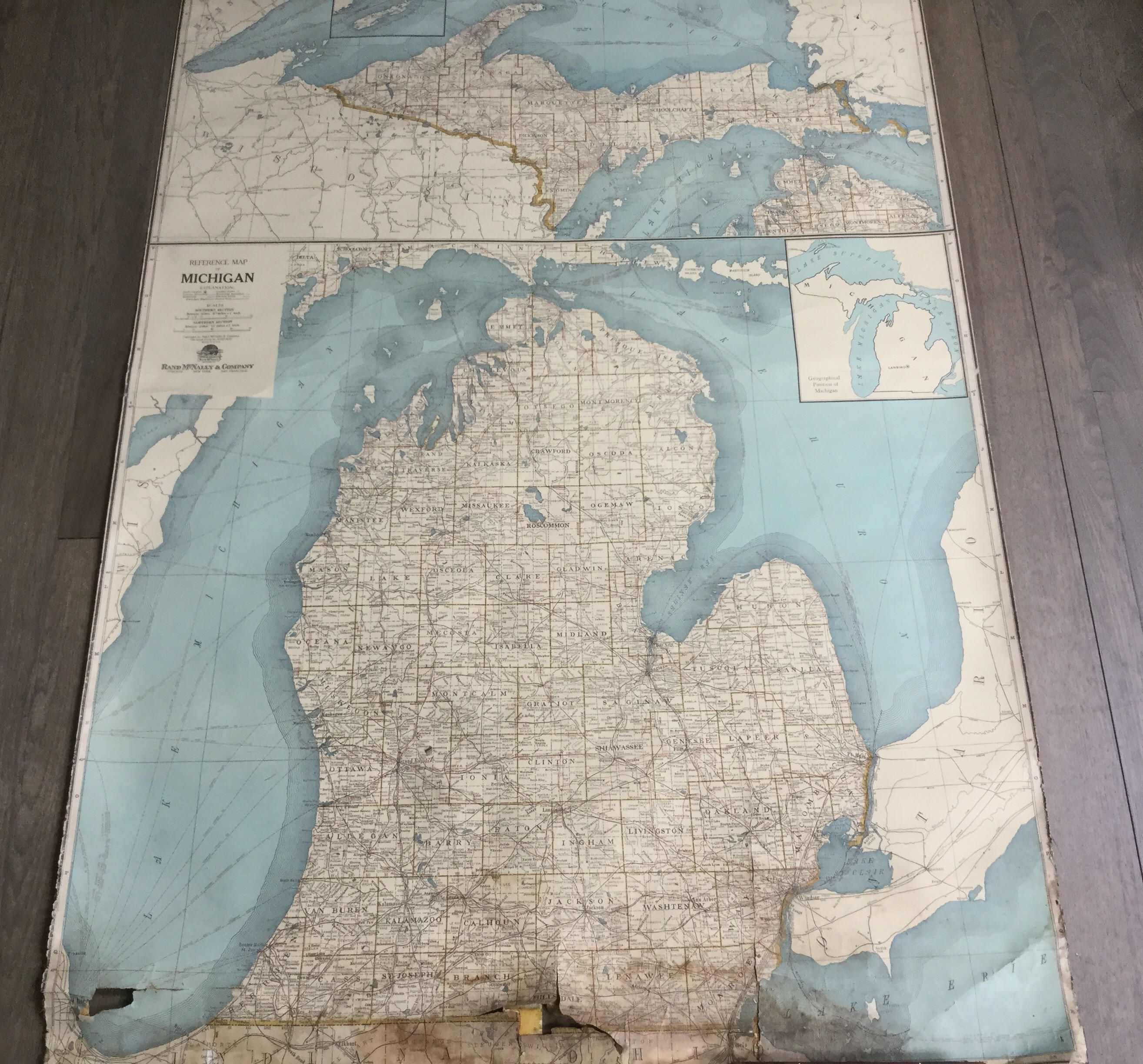 Large Fabric Vintage Rand McNally reference map Michigan lake