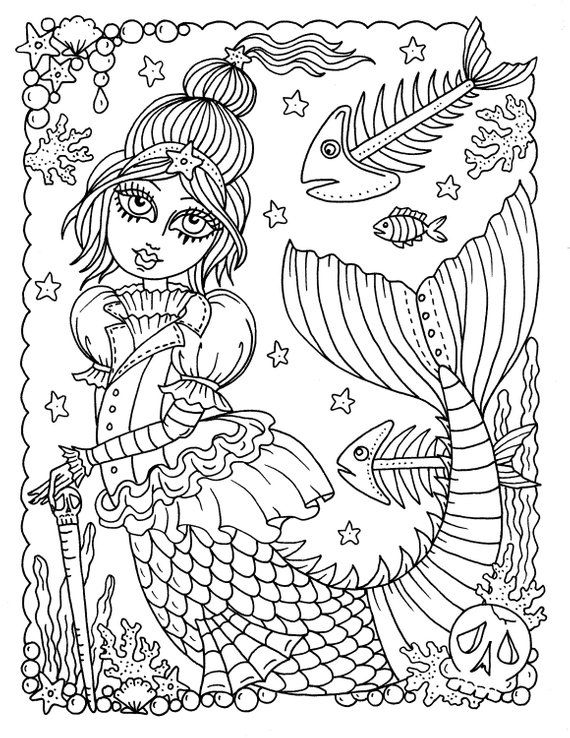 5 Pages Gothic Mermaids Digital Coloring Pages Set Of 5 Digi Stamps Digital Coloring Book Gothic Mermaids Cardmaking Crafts Cartoon Coloring Pages Coloring Pages Mermaid Coloring Book
