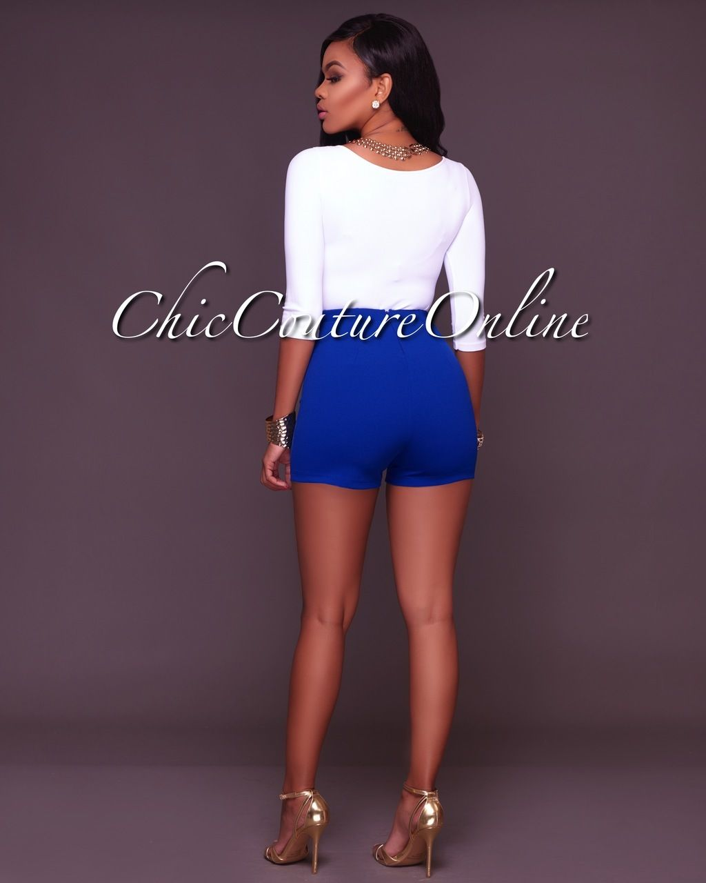 Chic Couture Online - Canalie Royal Blue Buttons Shorts,(http://www ...