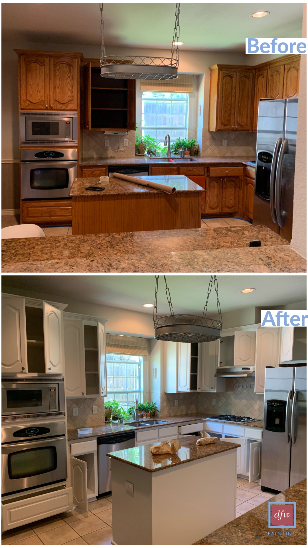 Kitchen Renovation Painted Cabinets Before And After Dfw Painting Kitchen Renovation Kitchen Transformation Refinishing Cabinets
