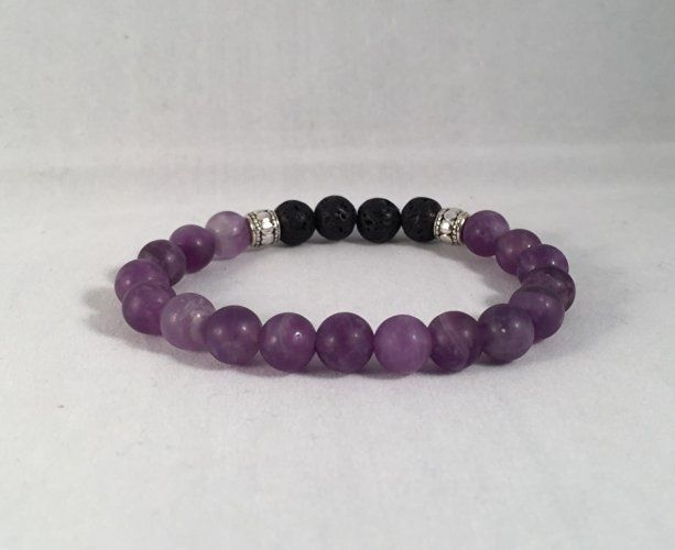 Amethyst and Lava Rock Aromatherapy/Essential Oil Diffuser Bracelet (matte…