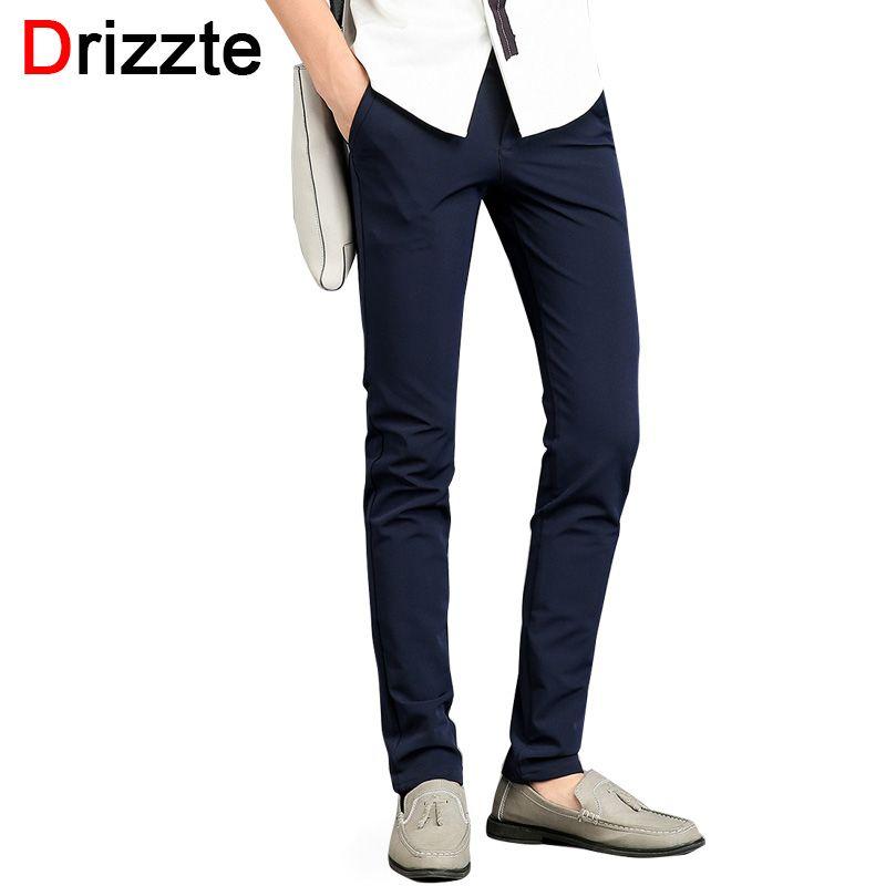 c356eeffb23a Drizzte Mens Stretch Blue Black Casual Dress Pants Korea Style Design Slim  Fit Slacks Pants Mens