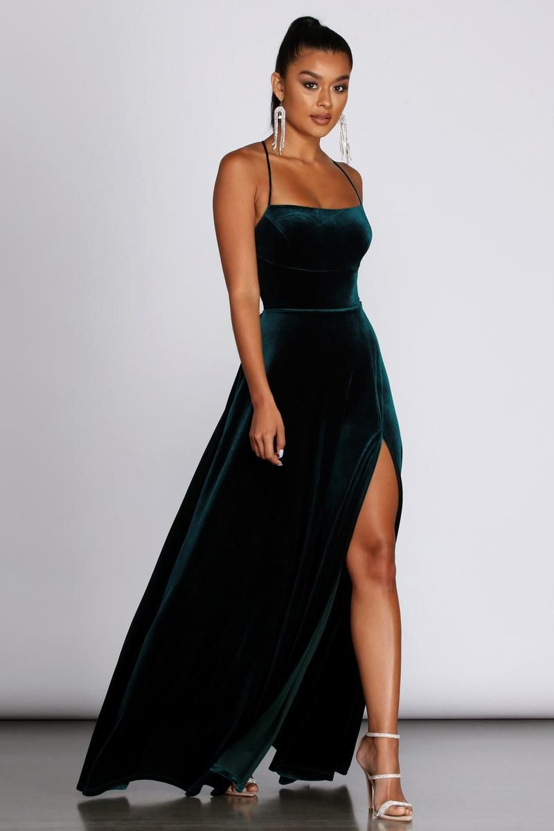 Alycia Velvet Lace-Up Gown