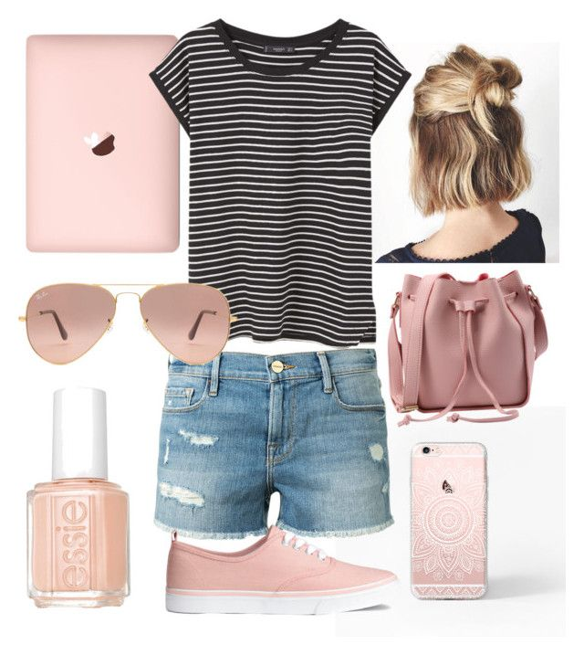 """""""Rose Gold"""" by sarah16wood on Polyvore featuring MANGO, Frame Denim, Ray-Ban and Essie"""