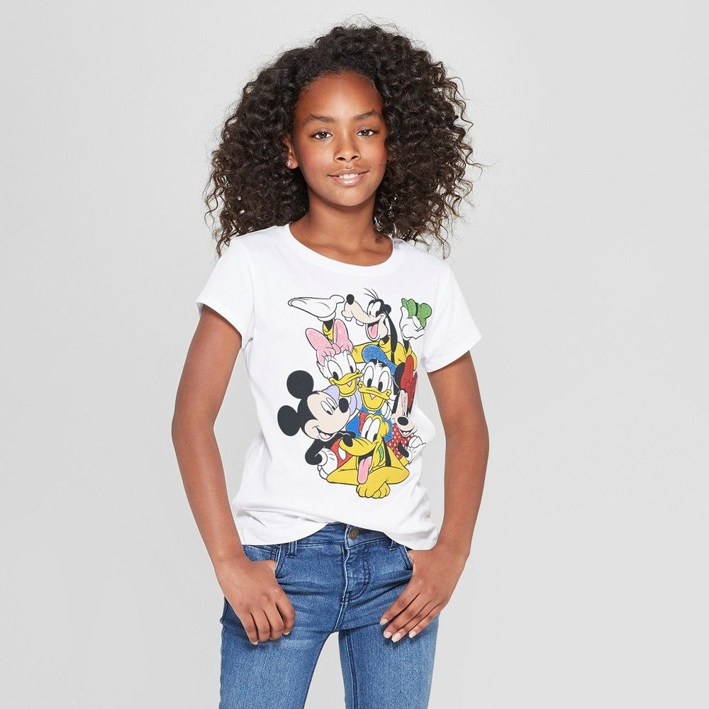 c9654fbc0bc Girls  Mickey Mouse   Friends Group Short Sleeve T-Shirt - White L Gender