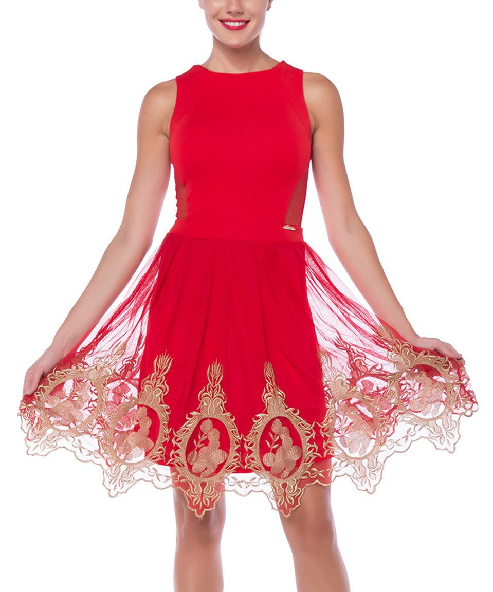 Look what i found on zulily fx missony red u gold scalloped fit