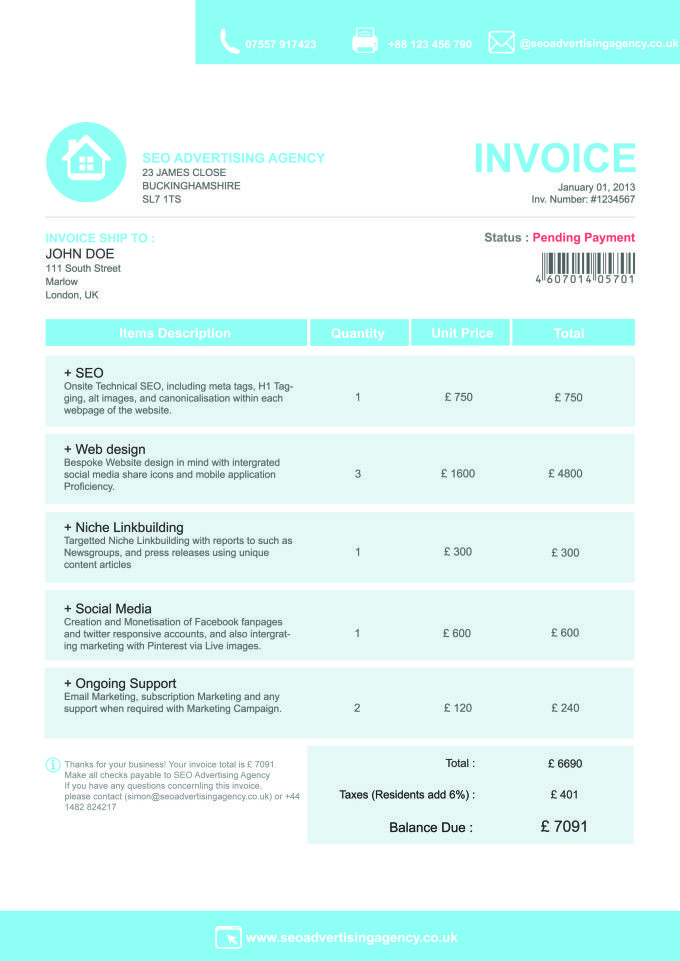 Invoice Template Form Design Pinterest Template And Form Design - Seo invoice template