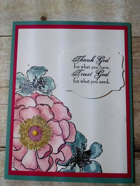 This beauty uses three retiring stamp sets - Trust God, Everything Eleanor and the single stamp, Blended Blooms as well as the retiring Candy Dots.