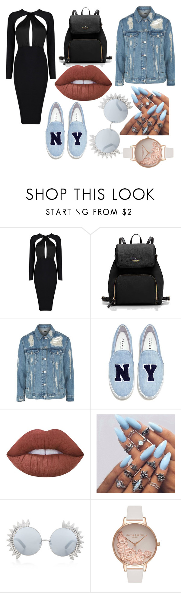 """""""Sans titre #309"""" by estelle24 ❤ liked on Polyvore featuring Topshop, Joshua's, Lime Crime, Linda Farrow and Olivia Burton"""