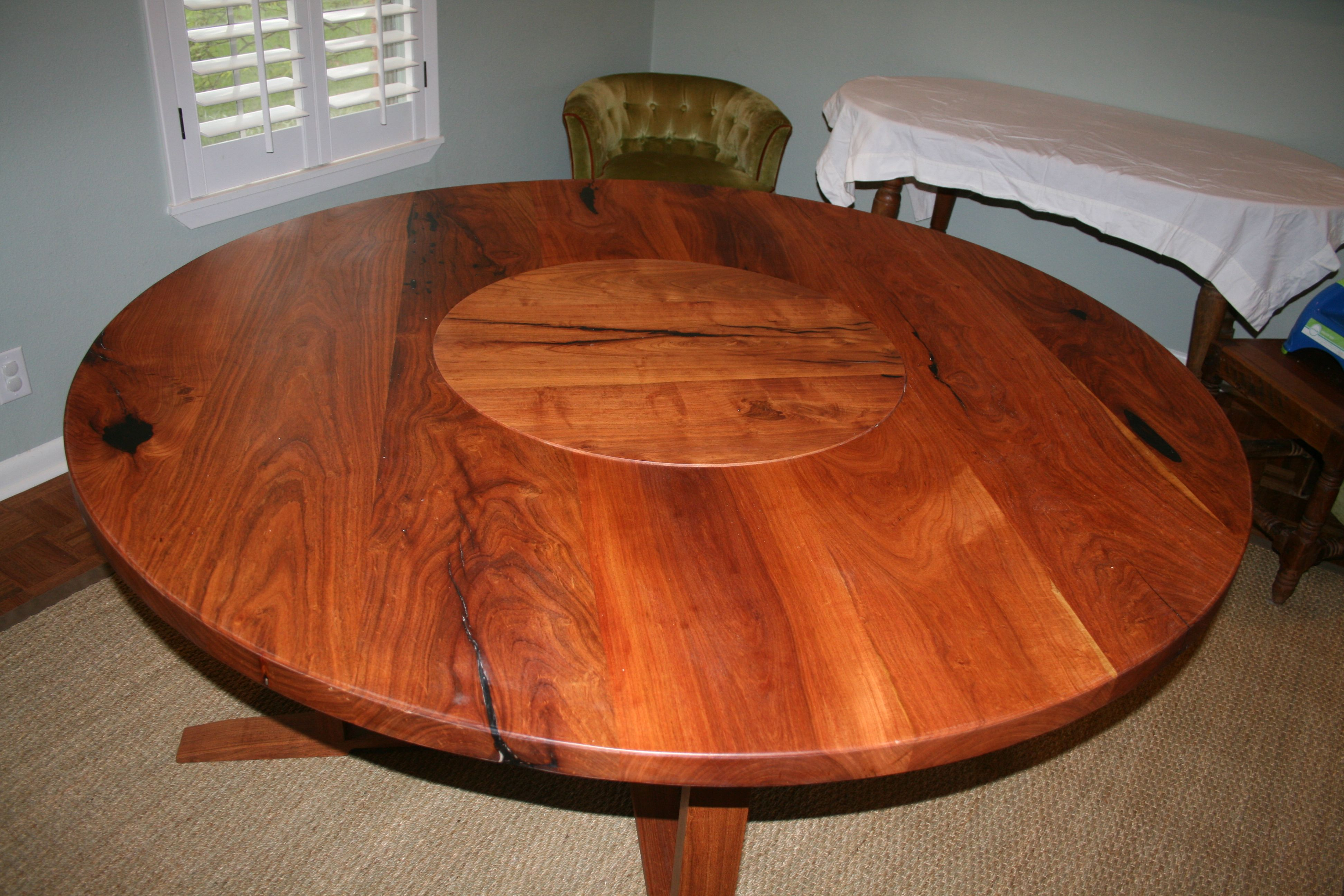 Solid Texas Mesquite Table With Embedded Lazy Susan This Is One Way To Serve A