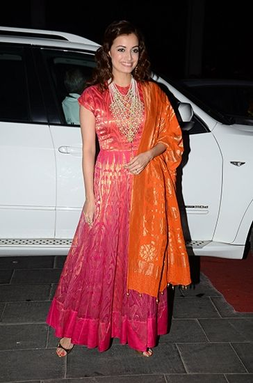 Dia Mirza in an anarkali. To view, visit: http://www.vogue.in/content/bollywood-tulsi-kumar-wedding-reception#11
