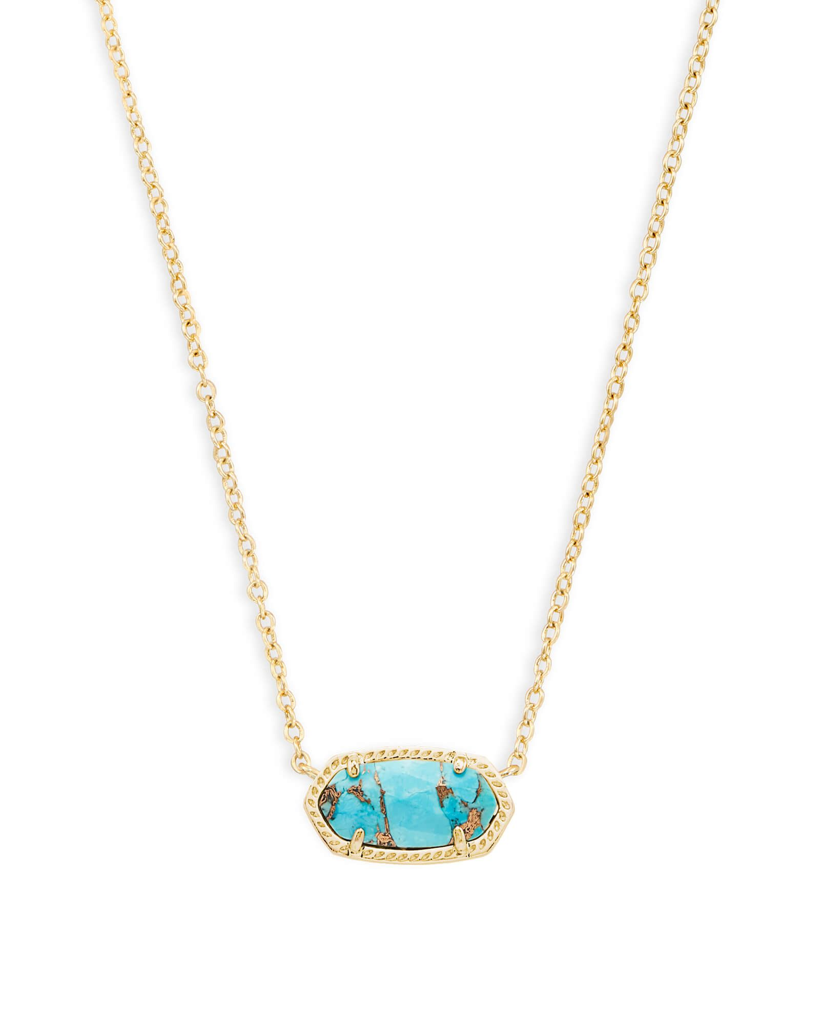 Shop silver pendant necklace in veined blue turquoise at kendra