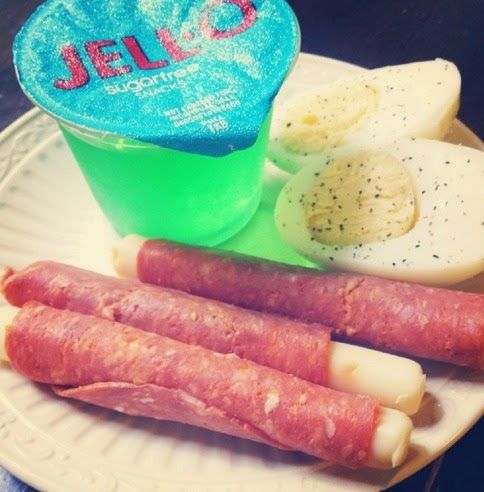 Boiled eggs, mozzerella rolled up in large pepperoni slices, sugar free jello - Low Carb Snack ...