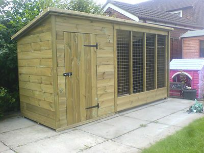 Tanalised Dog Kennel And Run 10 X 4 Trade Prices Dog Kennel Dog Kennel And Run Wooden Dog Kennels
