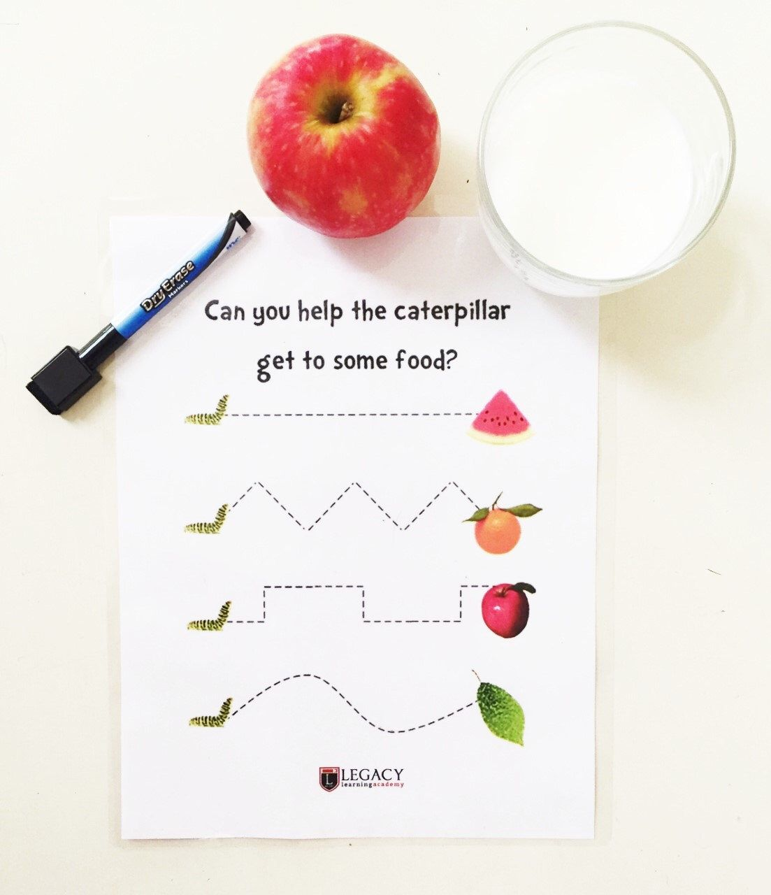 Printable Caterpillar Tracing Game Write On Placemats